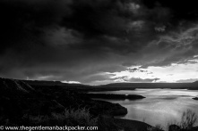 """""""Abiquiu Waters"""": A summer thunder and lightning storm rolls in over Abiquiu Lake, a manmade reservoir in New Mexico. July, 2014."""