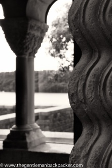 """""""Columns of Water"""" : Columns from the cloisters of St. Guilhem de Desert, near Montpellier, France were carved in the late 1200s to resemble water. The Hudson River flows by in the background at the Cloisters Museum, NY, September 2014."""